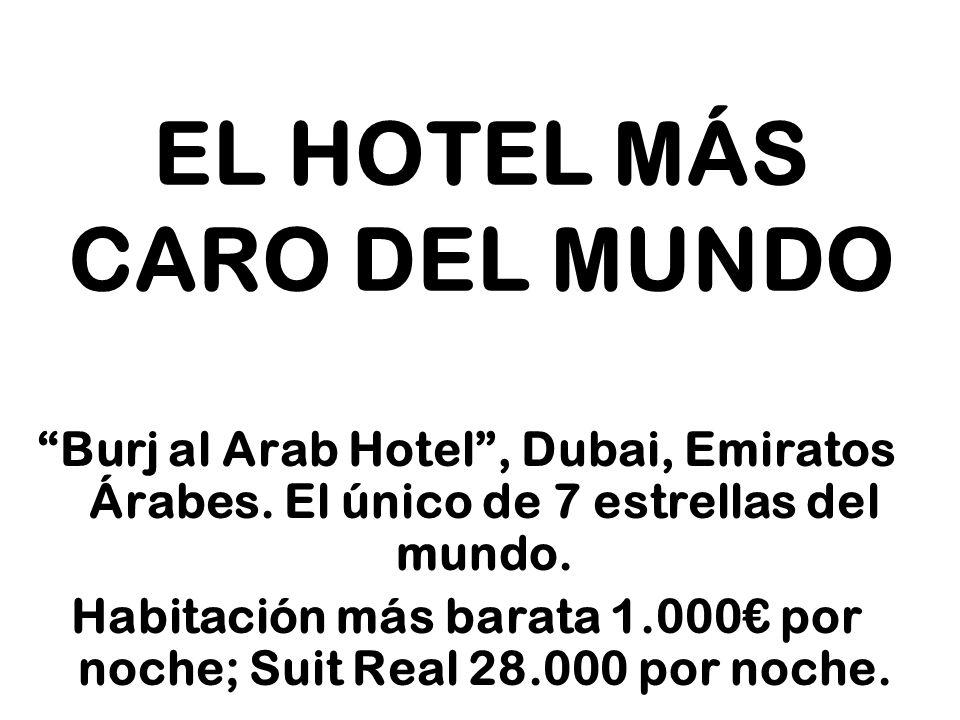 EL HOTEL MÁS CARO DEL MUNDO Burj al Arab Hotel, Dubai, Emiratos Árabes. El único de 7 estrellas del mundo. Habitación más barata 1.000 por noche; Suit