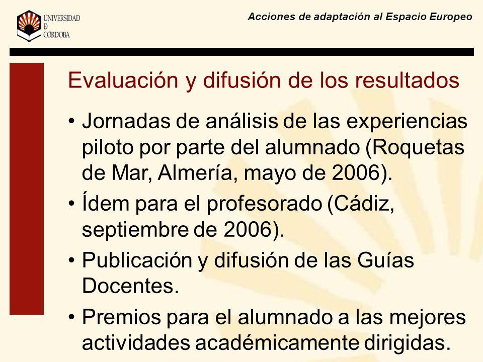 Acciones de adaptación al Espacio Europeo Evaluación y difusión de los resultados Jornadas de análisis de las experiencias piloto por parte del alumnado (Roquetas de Mar, Almería, mayo de 2006).