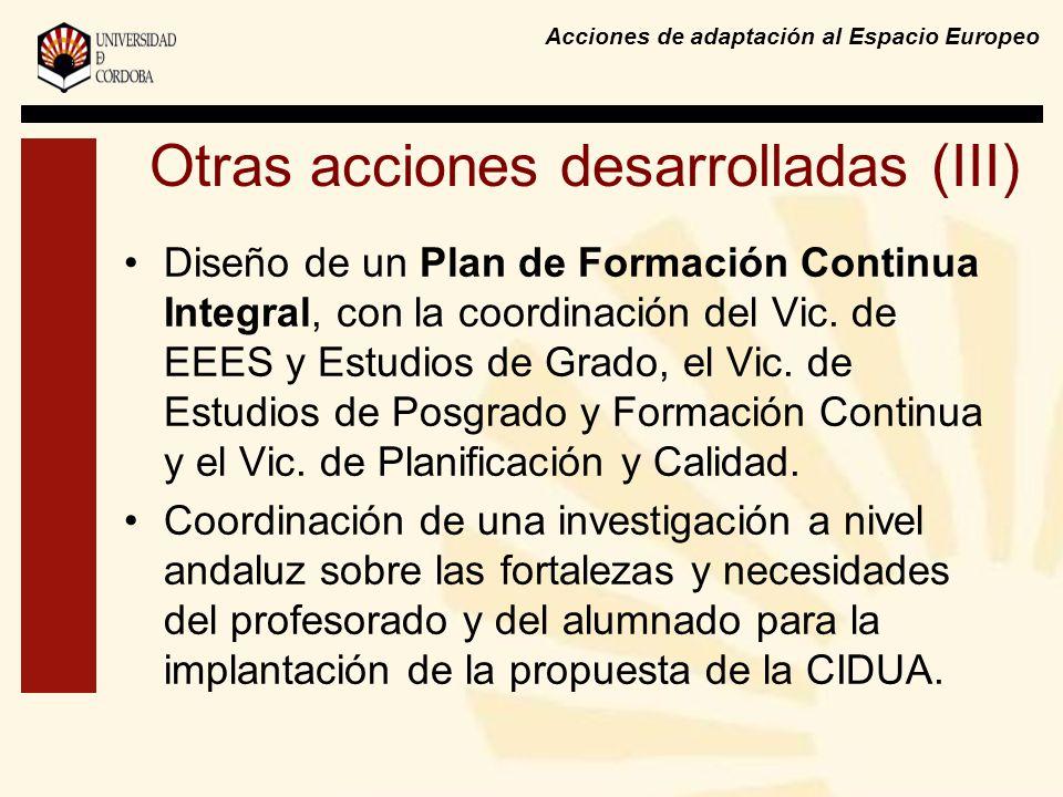 Acciones de adaptación al Espacio Europeo Otras acciones desarrolladas (III) Diseño de un Plan de Formación Continua Integral, con la coordinación del