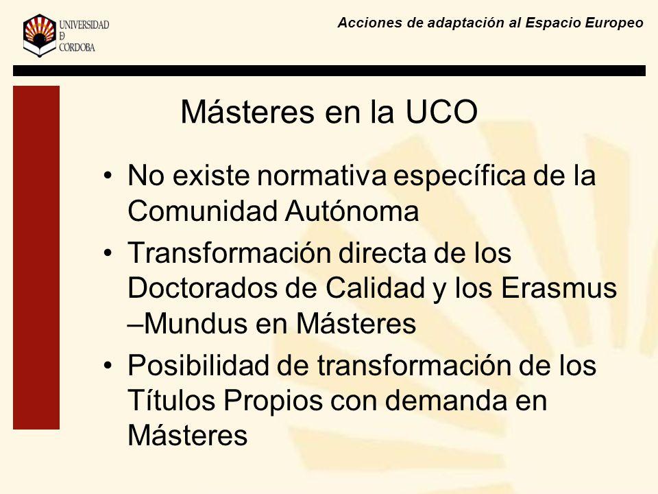 Másteres en la UCO No existe normativa específica de la Comunidad Autónoma Transformación directa de los Doctorados de Calidad y los Erasmus –Mundus en Másteres Posibilidad de transformación de los Títulos Propios con demanda en Másteres