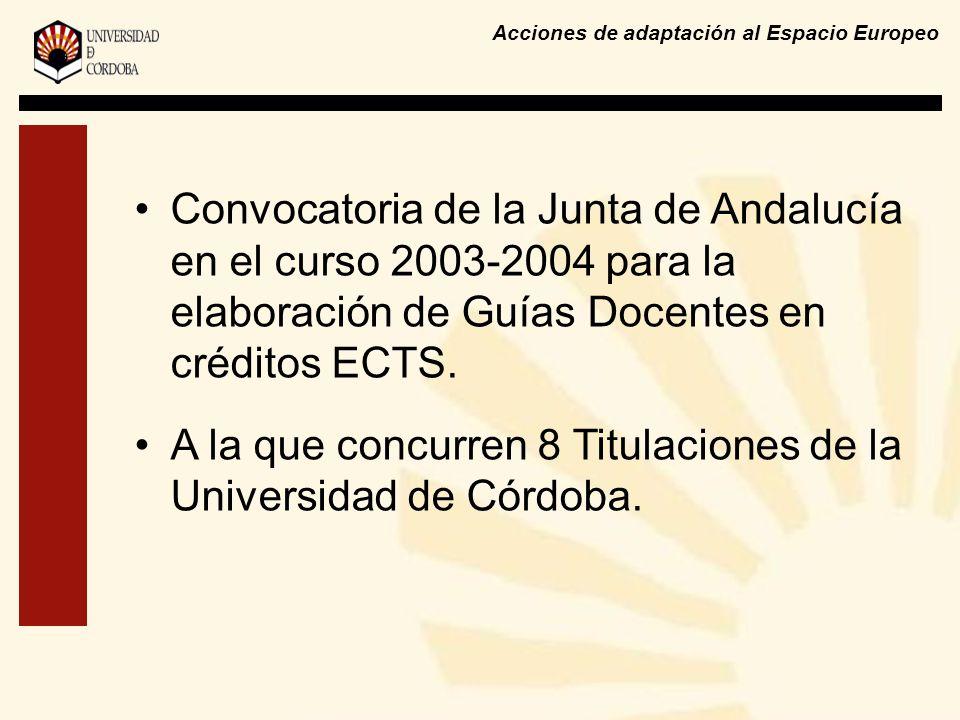 Acciones de adaptación al Espacio Europeo Convocatoria de la Junta de Andalucía en el curso 2003-2004 para la elaboración de Guías Docentes en crédito