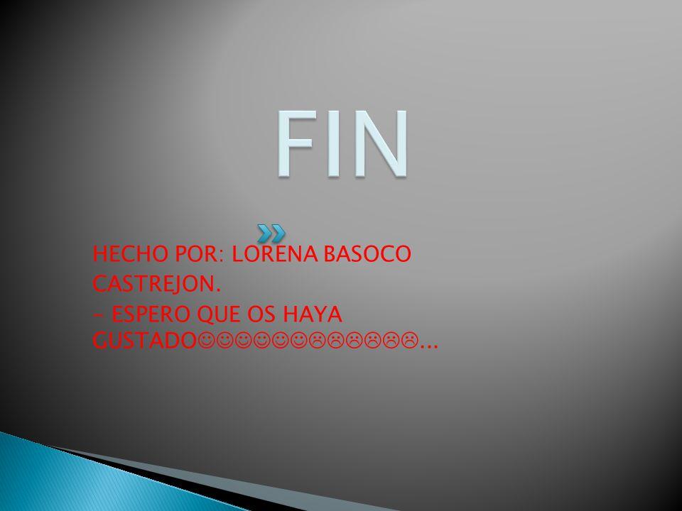 HECHO POR: LORENA BASOCO CASTREJON. - ESPERO QUE OS HAYA GUSTADO...