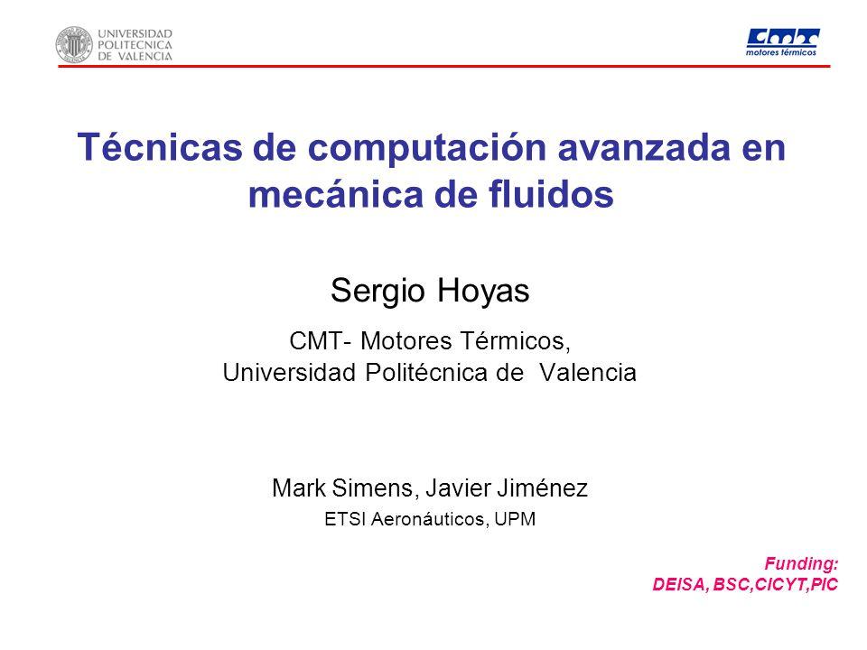 Técnicas de computación avanzada en mecánica de fluidos Sergio Hoyas CMT- Motores Térmicos, Universidad Politécnica de Valencia Funding: DEISA, BSC,CI