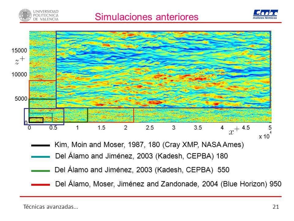 Simulaciones anteriores Kim, Moin and Moser, 1987, 180 (Cray XMP, NASA Ames) Del Álamo and Jiménez, 2003 (Kadesh, CEPBA) 550 Del Álamo, Moser, Jiménez and Zandonade, 2004 (Blue Horizon) 950 Del Álamo and Jiménez, 2003 (Kadesh, CEPBA) 180 Técnicas avanzadas...21