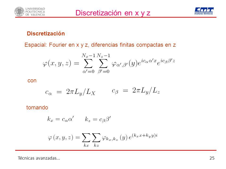 Discretización en x y z Discretización Espacial: Fourier en x y z, diferencias finitas compactas en z con tomando Técnicas avanzadas...25