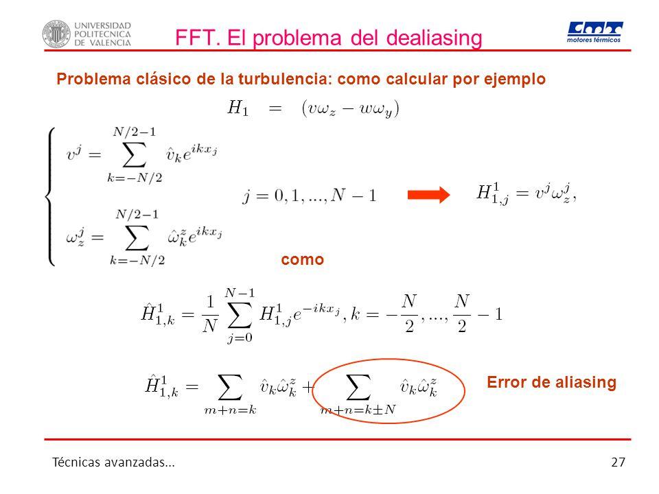 FFT. El problema del dealiasing Problema clásico de la turbulencia: como calcular por ejemplo como Error de aliasing Técnicas avanzadas...27