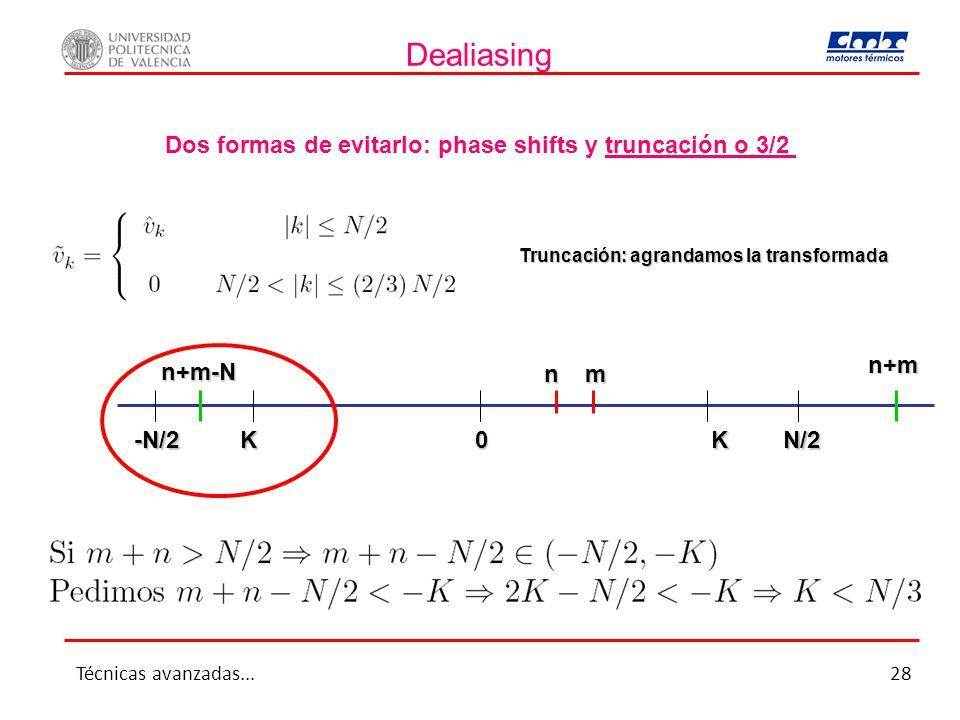 Dealiasing Dos formas de evitarlo: phase shifts y truncación o 3/2 Truncación: agrandamos la transformada 0 n m n+m n+m-N N/2KK-N/2 Técnicas avanzadas...28