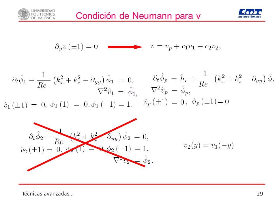 Condición de Neumann para v Técnicas avanzadas...29