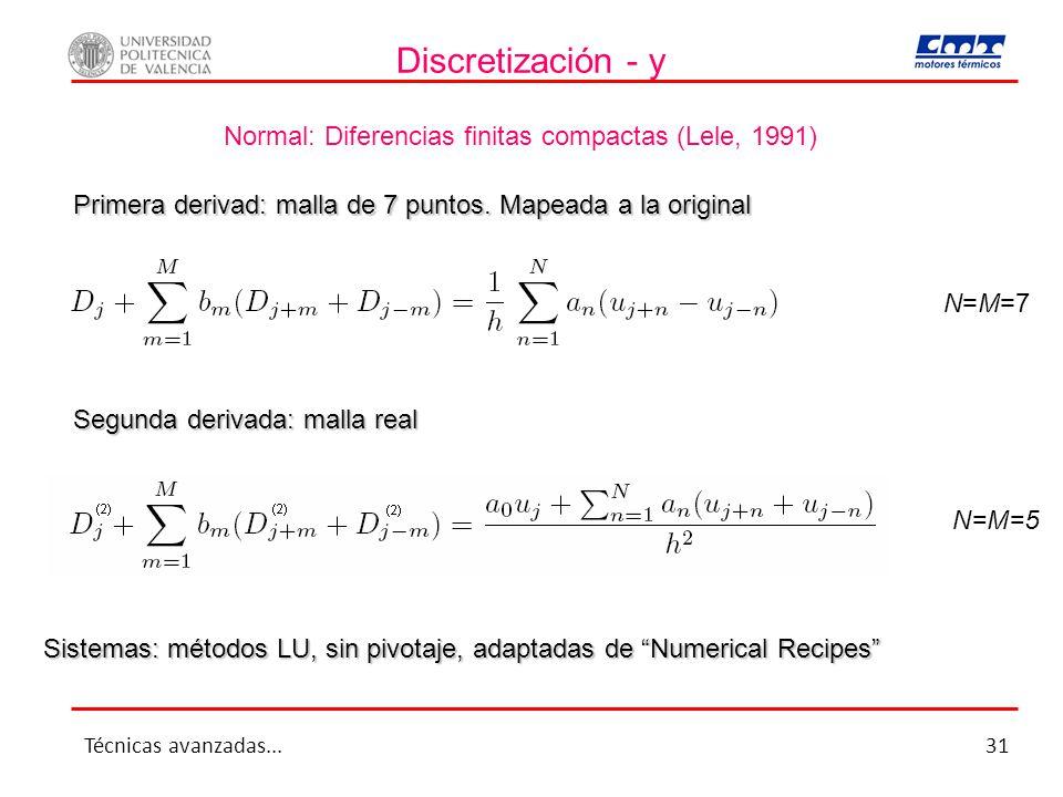 Discretización - y Normal: Diferencias finitas compactas (Lele, 1991) N=M=7 N=M=5 Primera derivad: malla de 7 puntos. Mapeada a la original Segunda de