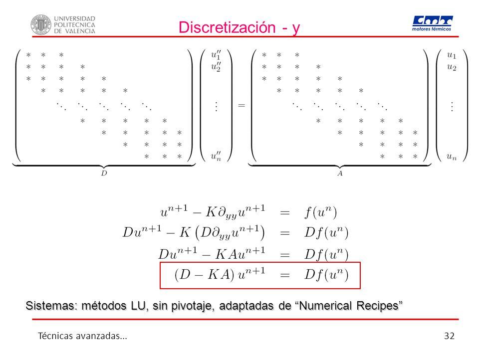 Discretización - y Sistemas: métodos LU, sin pivotaje, adaptadas de Numerical Recipes Técnicas avanzadas...32