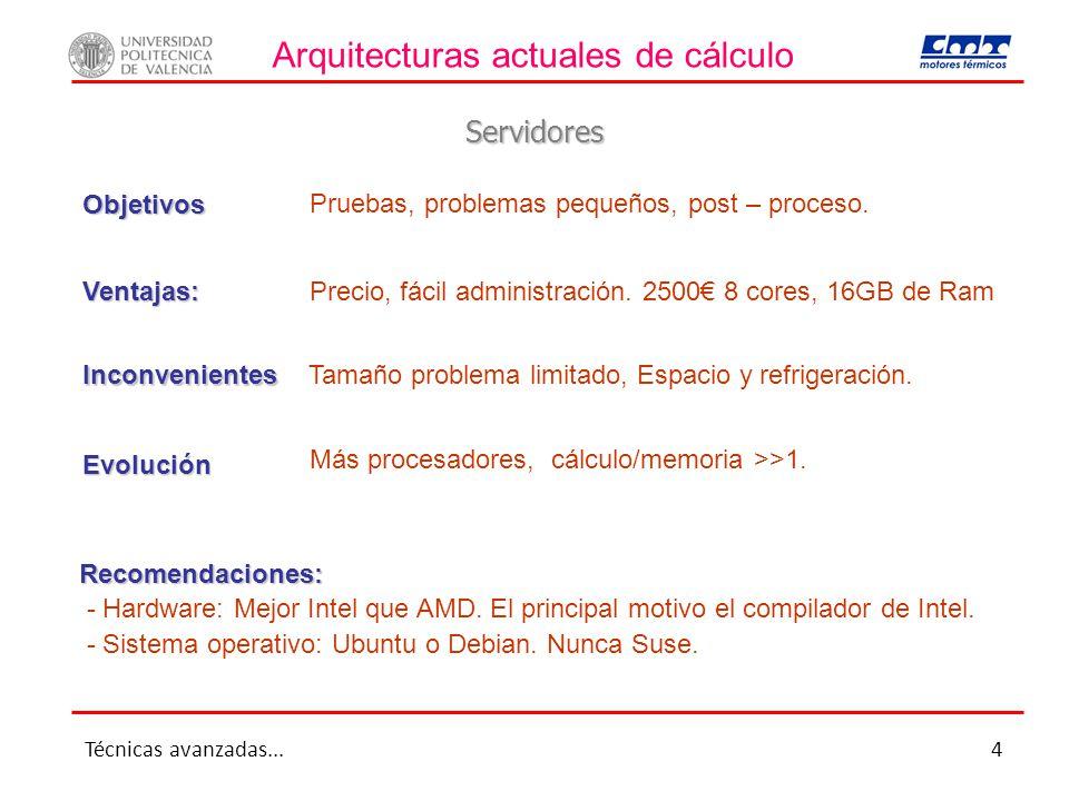 Arquitecturas actuales de cálculo Servidores Ventajas: Inconvenientes Recomendaciones: - Hardware: Mejor Intel que AMD. El principal motivo el compila
