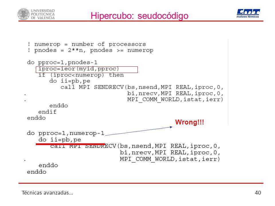 Hipercubo: seudocódigo Wrong!!! Técnicas avanzadas...40