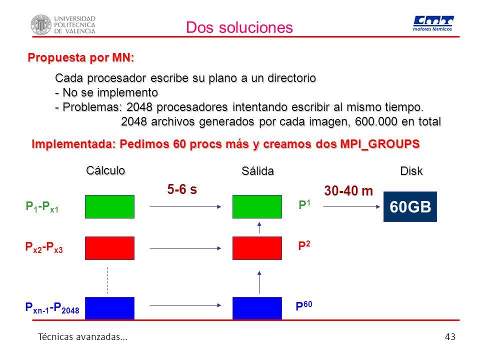 Dos soluciones Propuesta por MN: Cada procesador escribe su plano a un directorio - No se implemento - Problemas: 2048 procesadores intentando escribir al mismo tiempo.