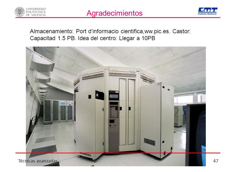 Agradecimientos Almacenamiento: Port dinformacio cientifica,ww.pic.es. Castor: Capacitad 1.5 PB. Idea del centro: Llegar a 10PB Técnicas avanzadas...4