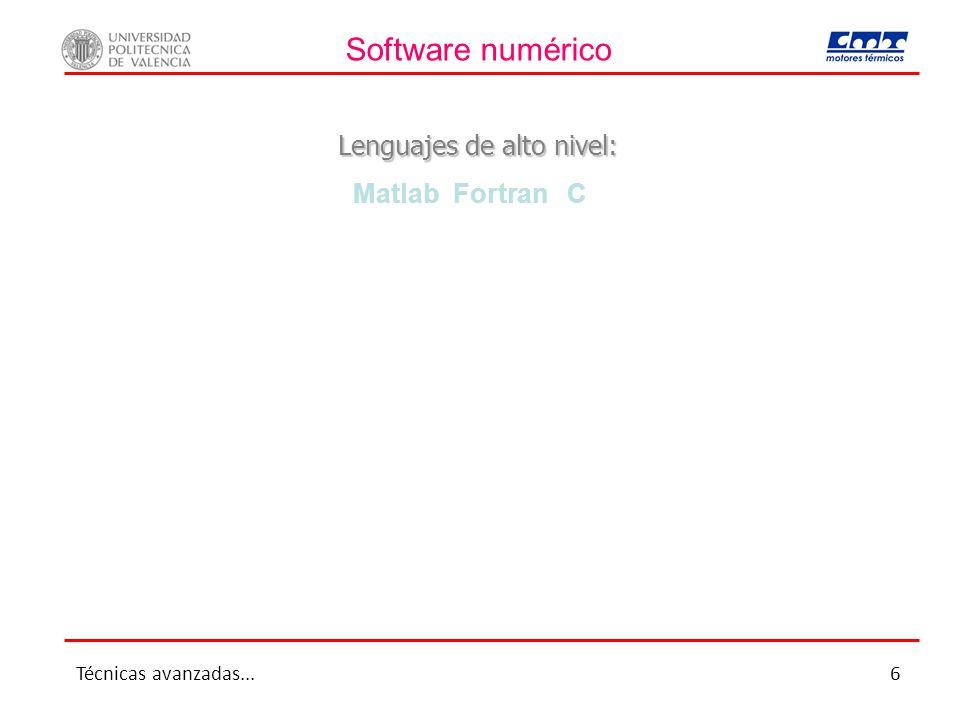 Software numérico Lenguajes de alto nivel: Matlab Fortran C Técnicas avanzadas...6