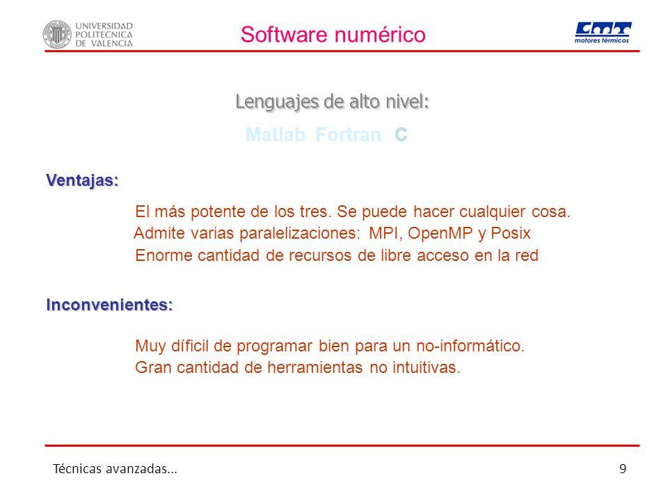 Software numérico Lenguajes de alto nivel: Matlab Fortran C El más potente de los tres.