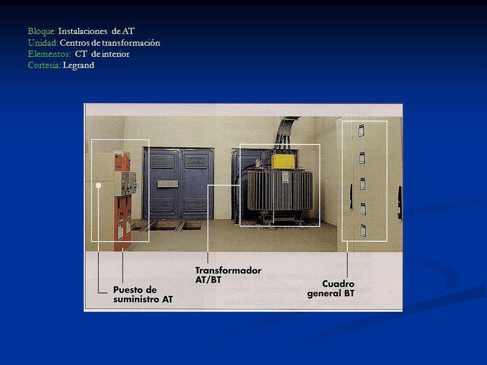 Bloque: Instalaciones de AT Unidad: Centros de transformación Elementos: CT de interior Cortesía: Legrand