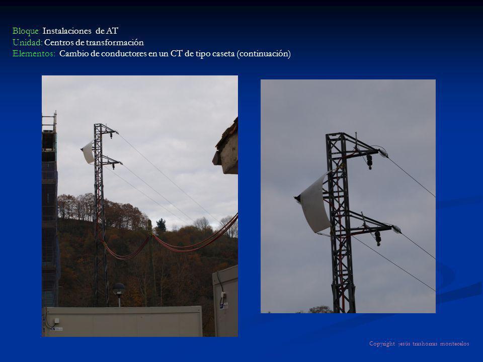 Bloque: Instalaciones de AT Unidad: Centros de transformación Elementos: Cambio de conductores en un CT de tipo caseta (continuación) Copyright jesús