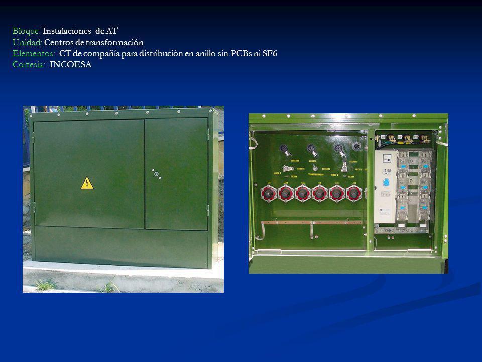 Bloque: Instalaciones de AT Unidad: Centros de transformación Elementos: CT de compañía para distribución en anillo sin PCBs ni SF6 Cortesía: INCOESA