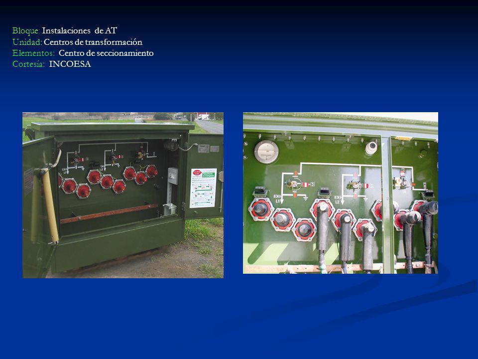 Bloque: Instalaciones de AT Unidad: Centros de transformación Elementos: Centro de seccionamiento Cortesía: INCOESA