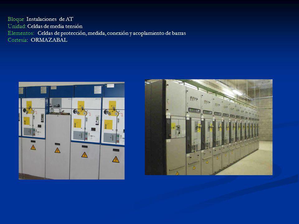 Bloque: Instalaciones de AT Unidad: Celdas de media tensión Elementos: Celdas de protección, medida, conexión y acoplamiento de barras Cortesía: ORMAZ