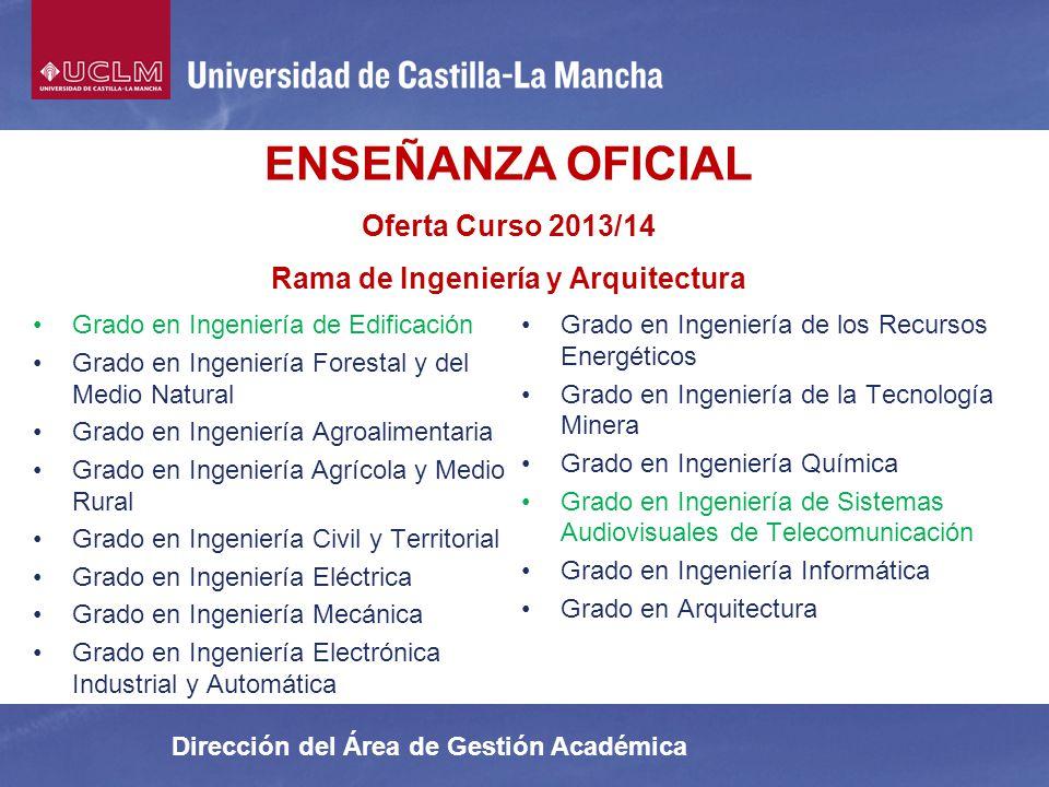 Dirección del Área de Gestión Académica Grado en Ingeniería de Edificación Grado en Ingeniería Forestal y del Medio Natural Grado en Ingeniería Agroal