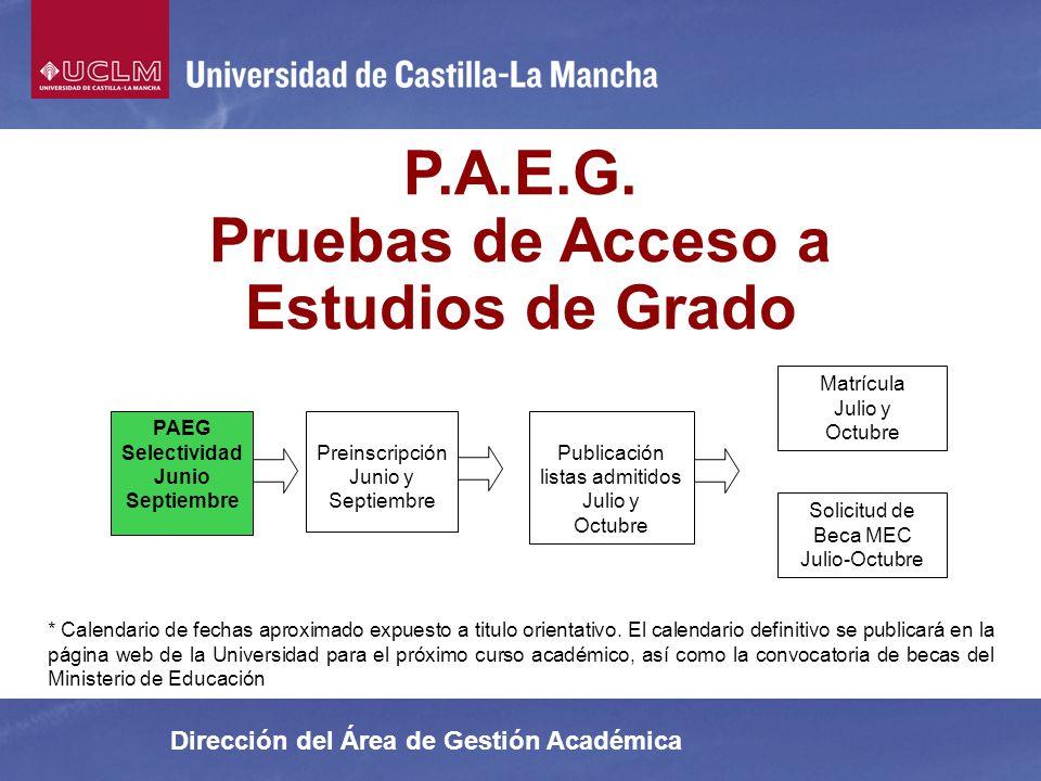 Dirección del Área de Gestión Académica P.A.E.G. Pruebas de Acceso a Estudios de Grado Preinscripción Junio y Septiembre Matrícula Julio y Octubre Sol