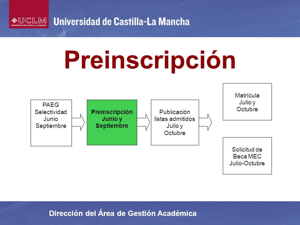 Dirección del Área de Gestión Académica Preinscripción Preinscripción Junio y Septiembre Matrícula Julio y Octubre Solicitud de Beca MEC Julio-Octubre