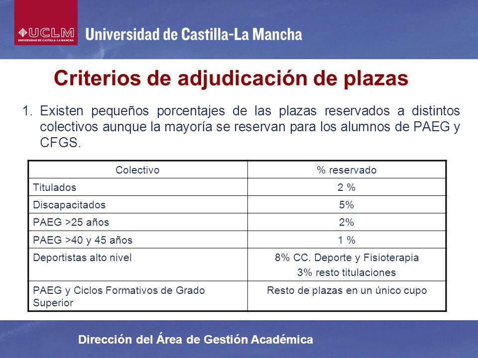 Dirección del Área de Gestión Académica 1.Existen pequeños porcentajes de las plazas reservados a distintos colectivos aunque la mayoría se reservan p