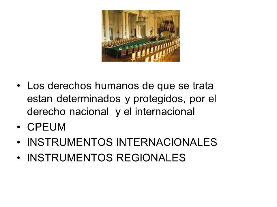 Los derechos humanos de que se trata estan determinados y protegidos, por el derecho nacional y el internacional CPEUM INSTRUMENTOS INTERNACIONALES IN