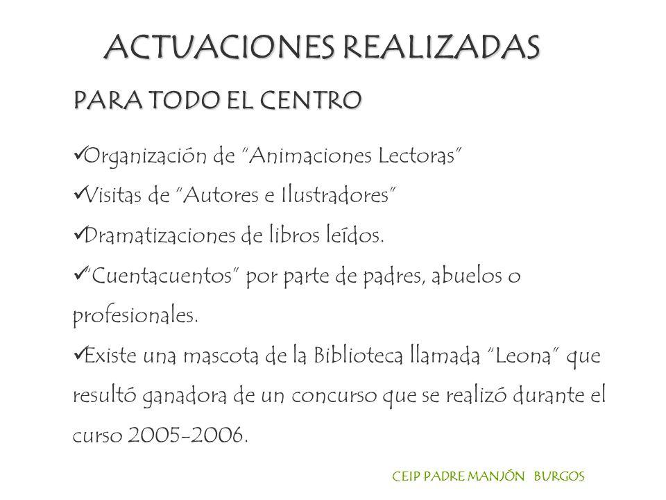 CEIP PADRE MANJÓN BURGOS Organización de Animaciones Lectoras Visitas de Autores e Ilustradores Dramatizaciones de libros leídos.
