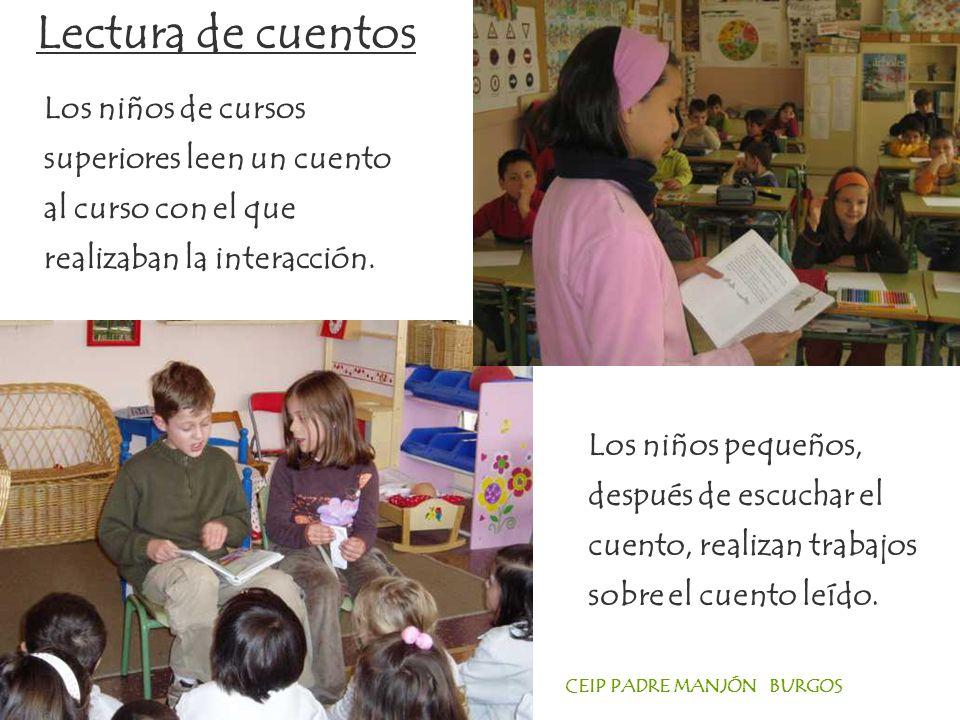CEIP PADRE MANJÓN BURGOS Los niños de cursos superiores leen un cuento al curso con el que realizaban la interacción.
