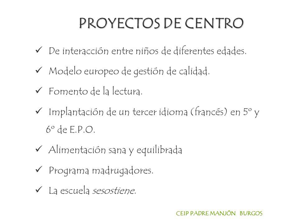 CEIP PADRE MANJÓN BURGOS El proyecto se desarrolla a lo largo del curso.