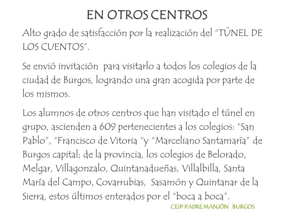 CEIP PADRE MANJÓN BURGOS Alto grado de satisfacción por la realización del TÚNEL DE LOS CUENTOS.