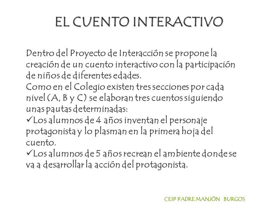 CEIP PADRE MANJÓN BURGOS EL CUENTO INTERACTIVO Dentro del Proyecto de Interacción se propone la creación de un cuento interactivo con la participación de niños de diferentes edades.