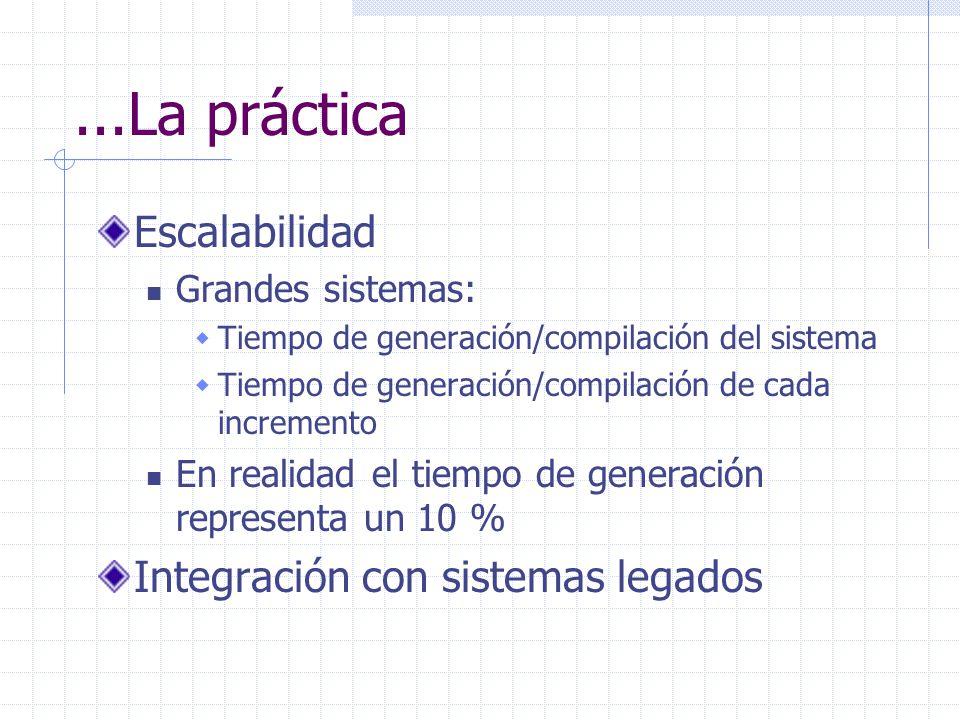 ...La práctica Escalabilidad Grandes sistemas: Tiempo de generación/compilación del sistema Tiempo de generación/compilación de cada incremento En rea