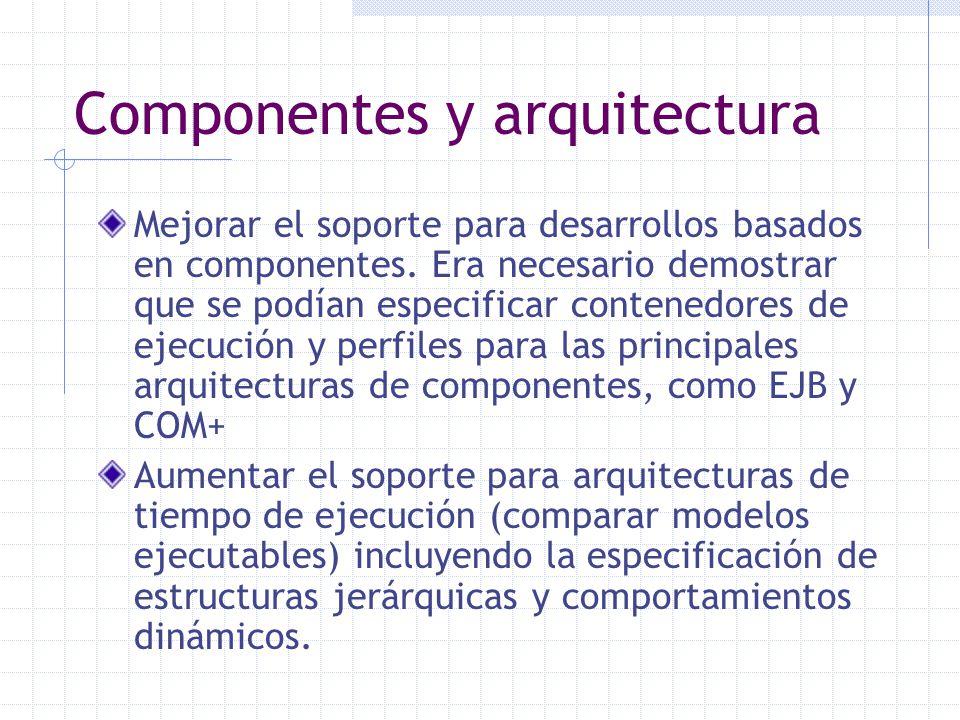 Componentes y arquitectura Mejorar el soporte para desarrollos basados en componentes. Era necesario demostrar que se podían especificar contenedores