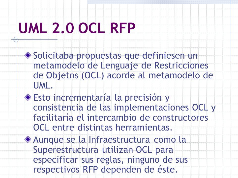 UML 2.0 OCL RFP Solicitaba propuestas que definiesen un metamodelo de Lenguaje de Restricciones de Objetos (OCL) acorde al metamodelo de UML. Esto inc
