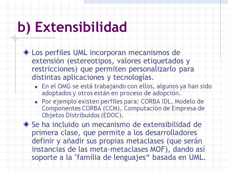 b) Extensibilidad Los perfiles UML incorporan mecanismos de extensión (estereotipos, valores etiquetados y restricciones) que permiten personalizarlo