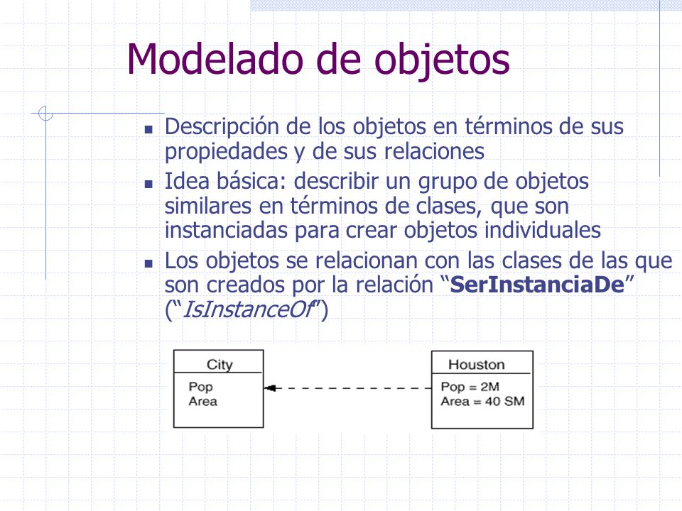 Descripción de los objetos en términos de sus propiedades y de sus relaciones Idea básica: describir un grupo de objetos similares en términos de clas
