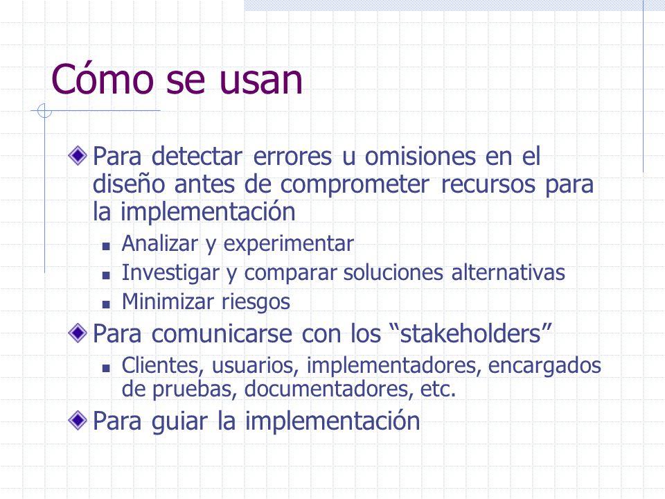 Cómo se usan Para detectar errores u omisiones en el diseño antes de comprometer recursos para la implementación Analizar y experimentar Investigar y