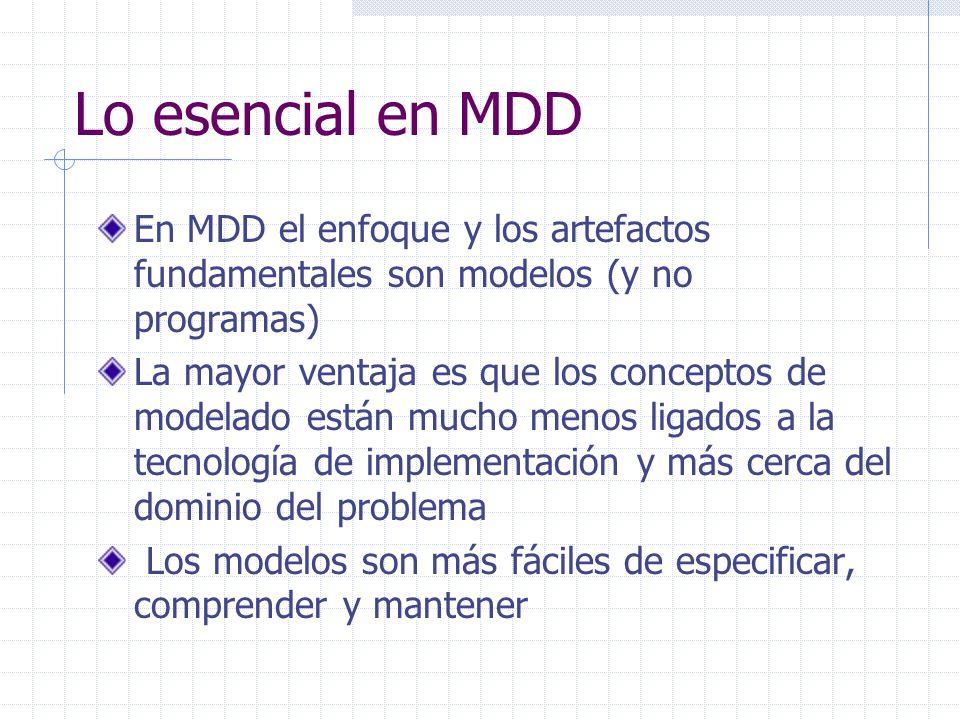 Lo esencial en MDD En MDD el enfoque y los artefactos fundamentales son modelos (y no programas) La mayor ventaja es que los conceptos de modelado est