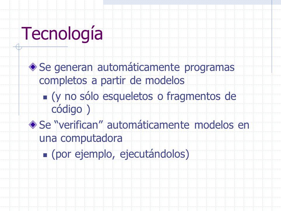 Tecnología Se generan automáticamente programas completos a partir de modelos (y no sólo esqueletos o fragmentos de código ) Se verifican automáticame