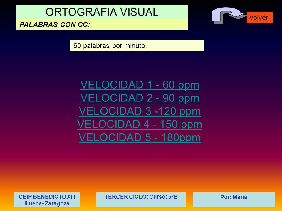 ORTOGRAFIA VISUAL volver Por: María PALABRAS CON CC: CEIP BENEDICTO XIII Illueca- Zaragoza TERCER CICLO: Curso: 6ºB VELOCIDAD 1 - 60 ppm VELOCIDAD 2 -