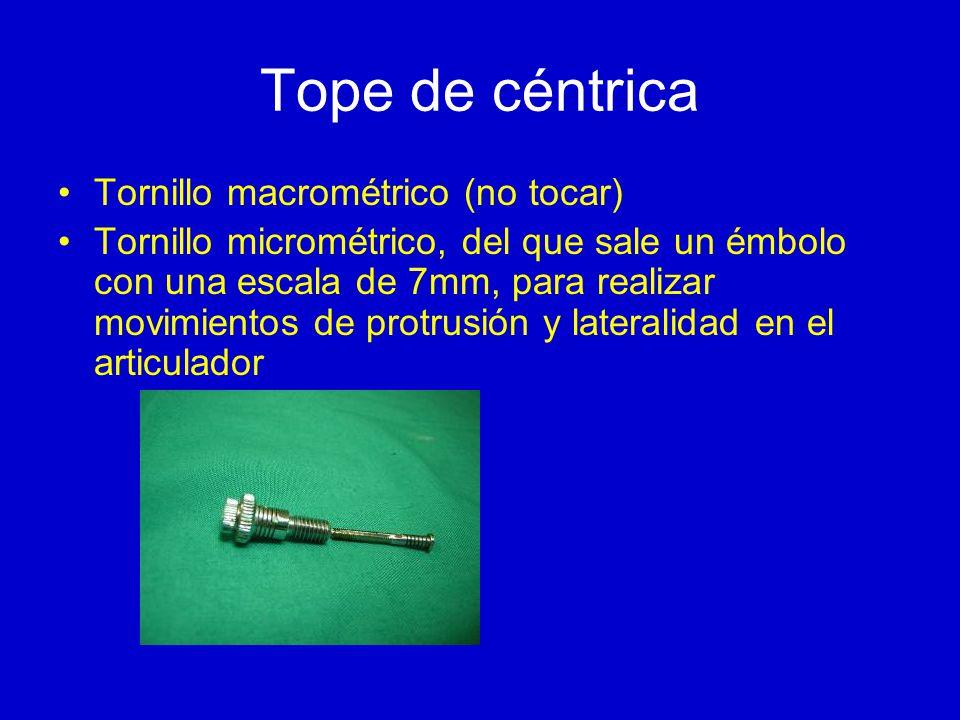Tope de céntrica Tornillo macrométrico (no tocar) Tornillo micrométrico, del que sale un émbolo con una escala de 7mm, para realizar movimientos de protrusión y lateralidad en el articulador