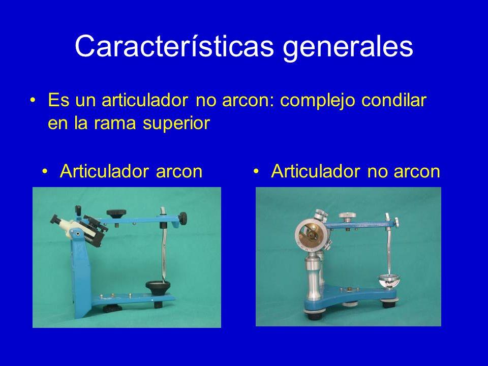 Características generales Es un articulador no arcon: complejo condilar en la rama superior Articulador arconArticulador no arcon