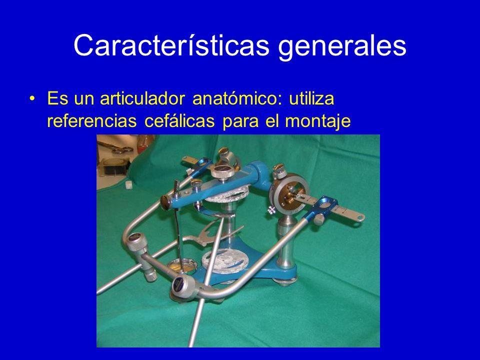 Características generales Es un articulador anatómico: utiliza referencias cefálicas para el montaje