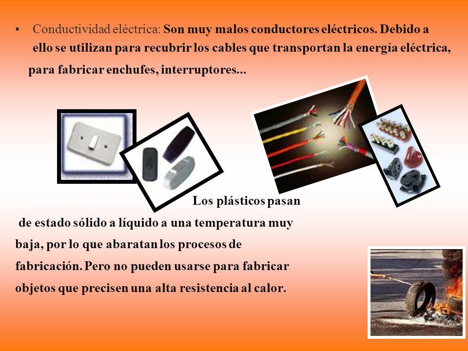 Conductividad eléctrica: Son muy malos conductores eléctricos. Debido a ello se utilizan para recubrir los cables que transportan la energía eléctrica