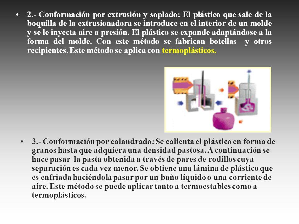 2.- Conformación por extrusión y soplado: El plástico que sale de la boquilla de la extrusionadora se introduce en el interior de un molde y se le iny