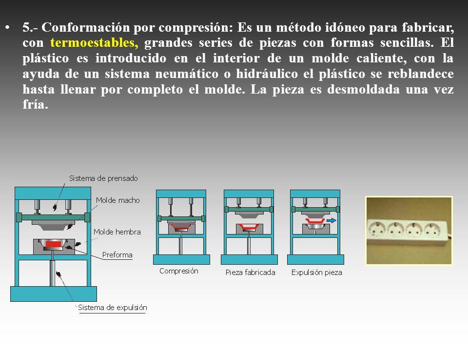 5.- Conformación por compresión: Es un método idóneo para fabricar, con termoestables, grandes series de piezas con formas sencillas. El plástico es i